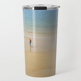 A Man on La Concha Beach in San Sebastian, Spain Travel Mug