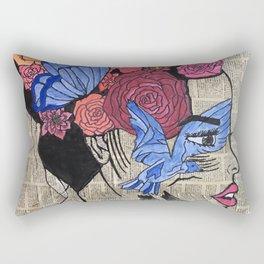 Whimsical News Girl Rectangular Pillow