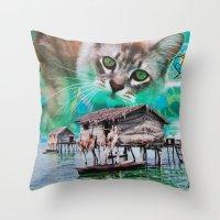 meow Throw Pillows featuring Meow by John Turck