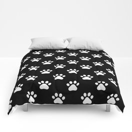 paw print black and white pattern Comforters