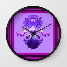 Decorative Lilac-Fuchsia Purple Iris Art Design Wall Clock