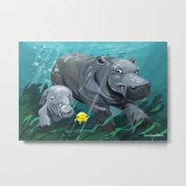 Hippos Metal Print