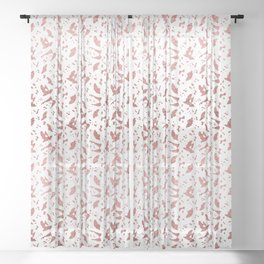 Ombre Rose Gold Metallic Foil Animal Spots on White Sheer Curtain