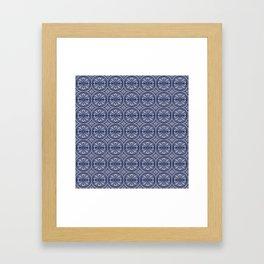 Vintage European blue tiles pattern Framed Art Print