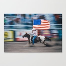 Horse Running With Rider And American Flag USA Canvas Print
