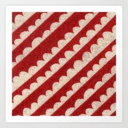 Red Geometric textile design Art Print