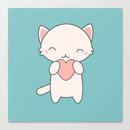 Kawaii Cute Cat With Hearts Canvas Print