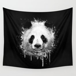 Cool Abstract Graffiti Watercolor Panda Portrait in Black & White  Wall Tapestry