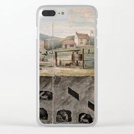 A coal mine  miners at work above and below ground. Coloured lithograph. Clear iPhone Case