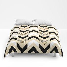 Black, White & Gold Glitter Herringbone Chevron on Nude Cream Comforters