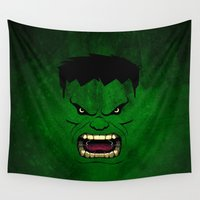 monster inc Wall Tapestries featuring Monster Green by Inara