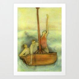 Three lost in a ship Art Print