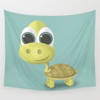 tortoise Wall Tapestries featuring Tortoise by Ainaragm