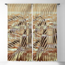 Golden waterly stripes Blackout Curtain
