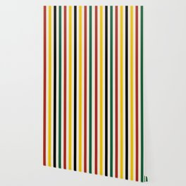 Rustic Lodge Stripes Black Yellow Red Green Wallpaper