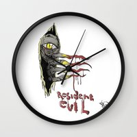 resident evil Wall Clocks featuring Resident Evil Pop Art Tribute by DCon