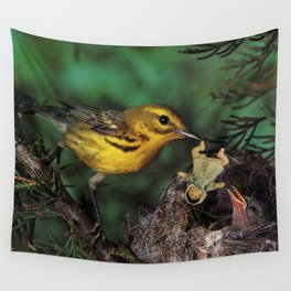 Baby Doll Feeding Time at the Birds Nest Wall Tapestry