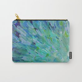 SEA SCALES - Beautiful Ocean Theme Peacock Feathers Mermaid Fins Waves Blue Teal Color Abstract Carry-All Pouch
