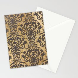 Gold swirls damask #1 Stationery Cards