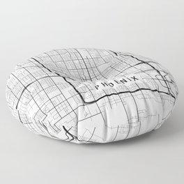 Phoenix Map, Arizona USA - Black & White Portrait Floor Pillow