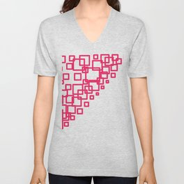 design blocks pink on white Unisex V-Neck
