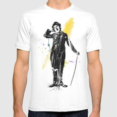 charlie chaplin 05 Mens Fitted Tee White SMALL