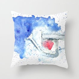 Splash hearted Watering Can - Watercolor painting Throw Pillow