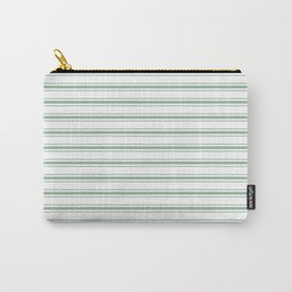 Moss Green and White Mattress Ticking Wide Striped Pattern Carry-All Pouch
