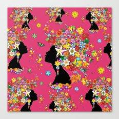 Hummingbird Kiss on Floral Girl  Canvas Print
