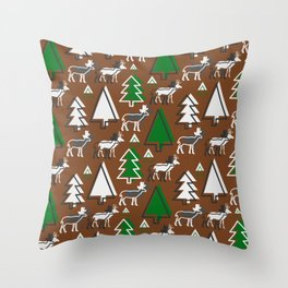 Deer winter forest Throw Pillow