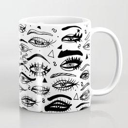All Eyez on Me- Black and White Ink Drawing Coffee Mug