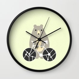Bear with bike Wall Clock