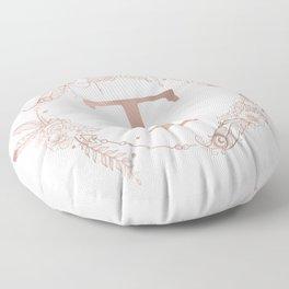 Letter T Rose Gold Pink Initial Monogram Floor Pillow