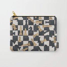 Chess Figures Pattern -Leather and gold Carry-All Pouch