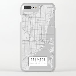 Miami Map - Black and White (Light) Clear iPhone Case