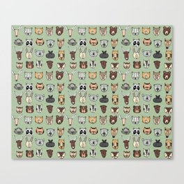 Wild Animal Portraits Green Texture Canvas Print