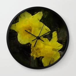 Yellow Daffodils Impressionist Painting Wall Clock