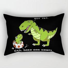 T-Rex Dinosaur Dad Does God Exist Funny Atheist Rectangular Pillow