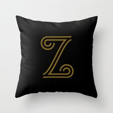 Mocha Script Z Drop Cap Throw Pillow