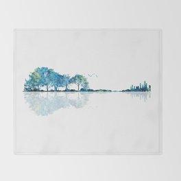Nature Guitar - Watercolor Blues Throw Blanket