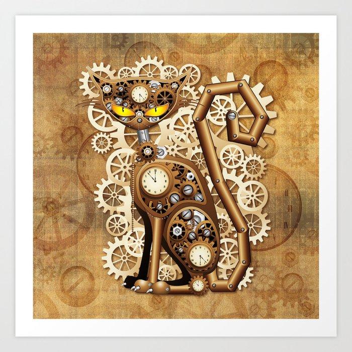 Steampunk Cat Vintage Style Art Print By Bluedarkatlem