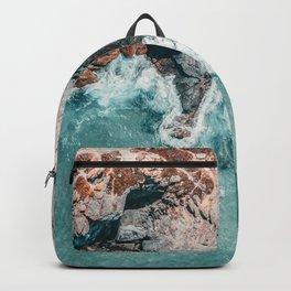 Ocean Print, Ocean Art, Printable Art, Waves Print, Ocean Rocks, Aerial Photography, Coastal Ocean Printable Wall Art Backpack