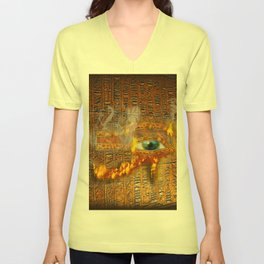 The Prophecy of Fire - Ancient Egypt Eye of Horus Unisex V-Neck