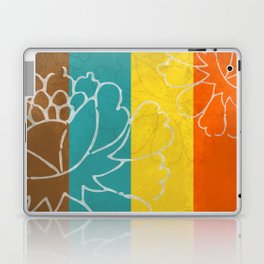 Chinese Flowers & Stripes - Orange Yellow Turquoise Brown Laptop & iPad Skin