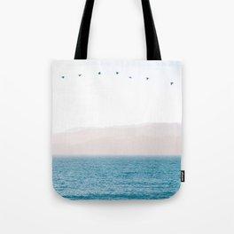 Modern Minimalist Pastel Blue Landscape Ocean Mountains Flock Of Birds Flying Tote Bag