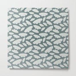 White Moth- Sage Pattern Metal Print
