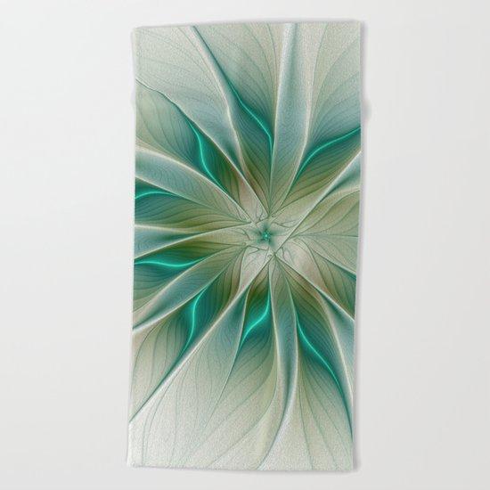 Floral Lights, Abstract Fractal Art Beach Towel