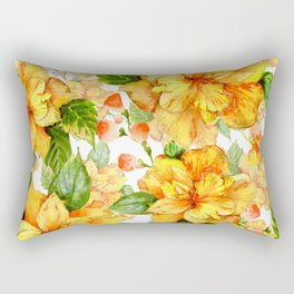 Yellow Hibiscus Tropical Continuous Floral Pattern Rectangular Pillow