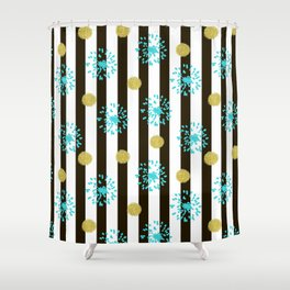 A festive mood. Striped background black and white with blue fireworks and Golden peas . Shower Curtain
