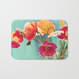 Bright Dancers - Vintage toned poppy flower still life Bath Mat